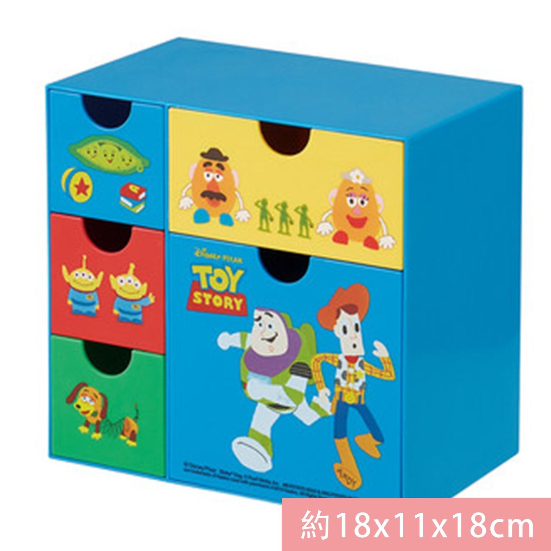 日本 SKATER 代購 - 桌上五格抽屜式收納盒-玩具總動員 (約18x11x18cm)