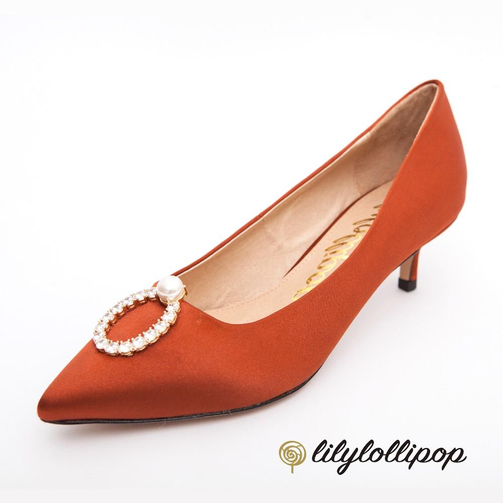 Pearl Ring 珍珠環緞面跟鞋--栗色