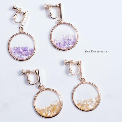『New』EVAEVA-小棒滾邊半透寶石碎片(米/紫) 耳夾