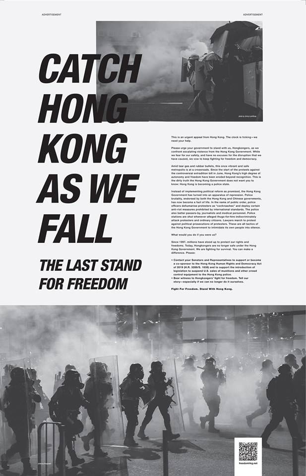 美國《紐約時報》。FB「Freedom HONG KONG」圖片