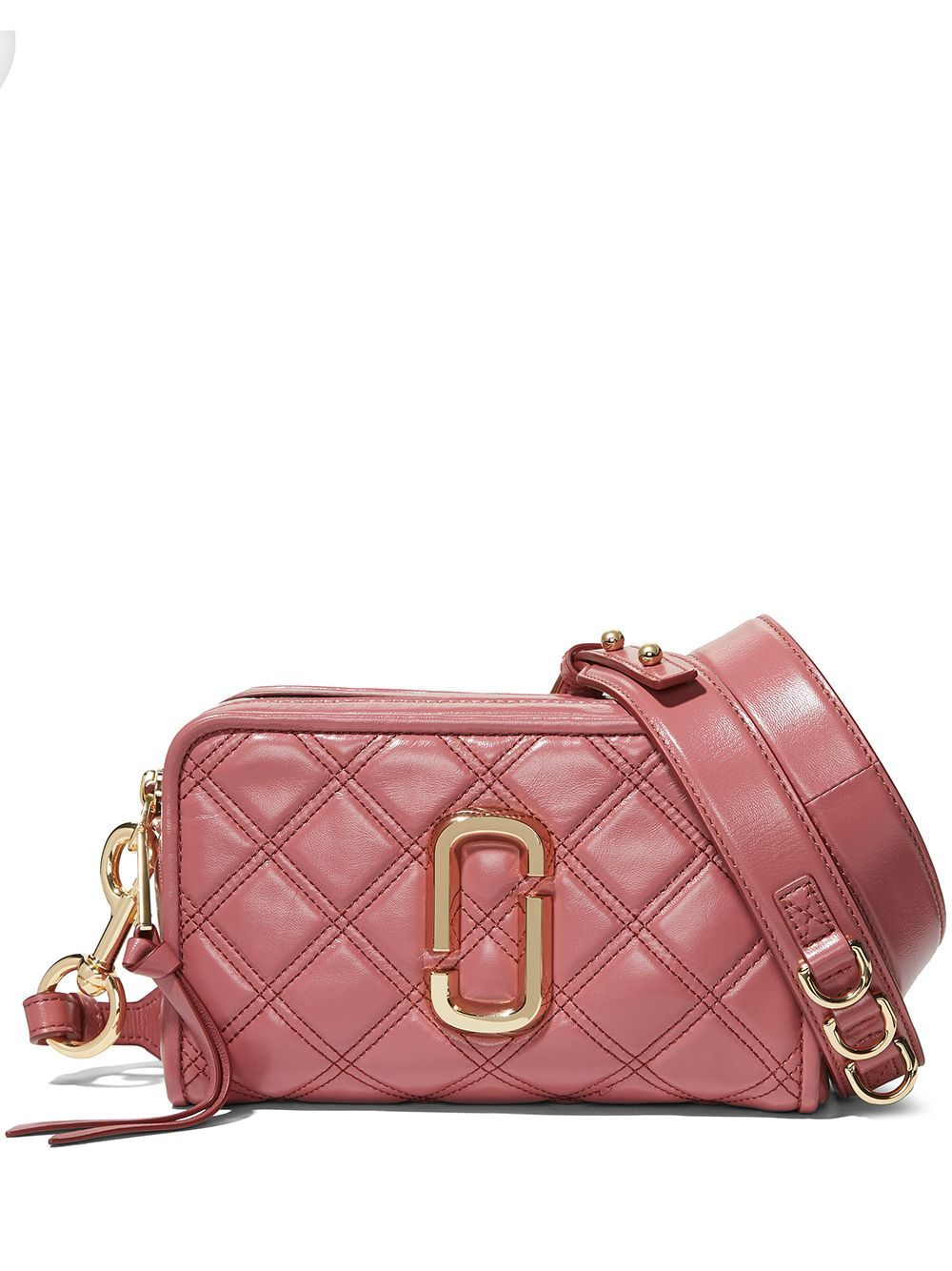 Pink lamb-skin The Quilted Softshot bag from Marc Jacobs featuring quilted, gold-tone logo plaque, t