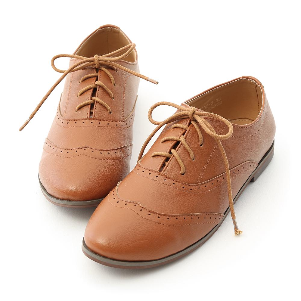 D+AF 學院風格.雕花綁帶平底牛津鞋
