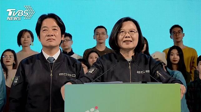 蔡英文、賴清德贏得大選後向支持者發表演說。(圖/TVBS)