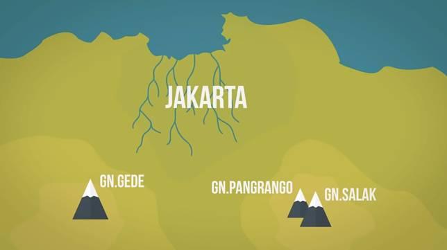Sungai-sungai ini pada jaman dahulu dibawa dari Gunung Salak, Gunung Gede dan Gunung Pangrango, terus bawa hasil material yang lama-lama menumpuk jadi sebuah daratan yang bernama Jakarta..