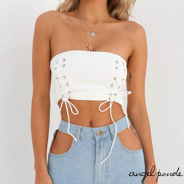 造型綁帶加上短款露腰版型,n時尚與性感集於一身,n夏天就是要穿這件!