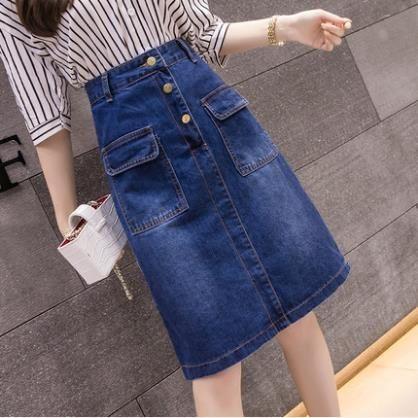 牛仔裙半身裙女夏季2019新款a字裙中長款高腰大碼包臀裙一步裙子