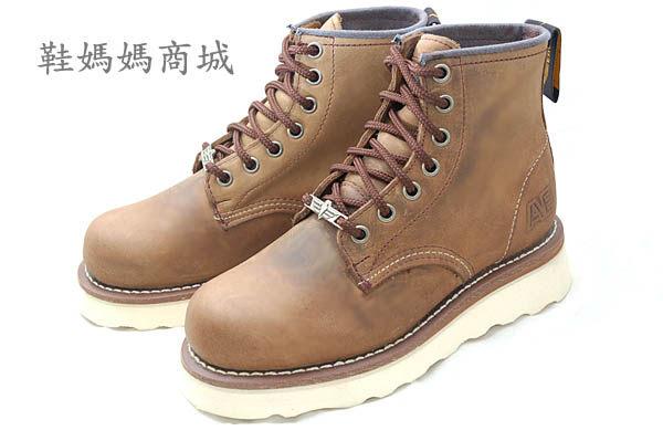 【鞋媽媽】[女]AE真皮馬丁鞋*棕色白大底短靴*ae007