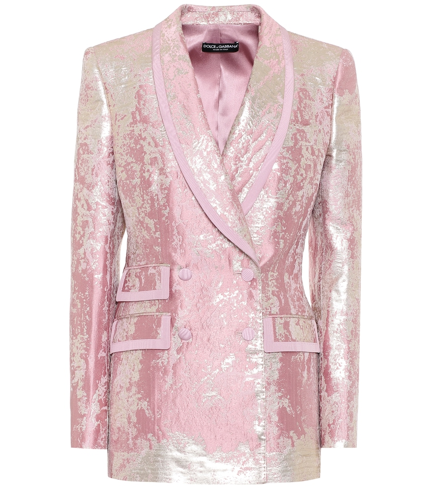 Suit up in shimmering separates courtesy of this pale pink blazer from Dolce & Gabbana.