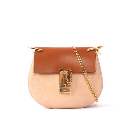 【CHLOE】山羊皮金鏈mini drew bag (焦糖/粉 拚色)
