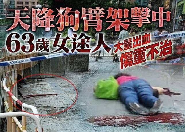女途人被墮下的狗臂架擊斃。(讀者提供)