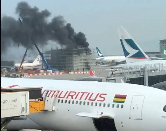 Emergency services sent to Hong Kong International Airport after fire breaks out