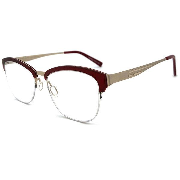 薄鋼鏡框 複合材質/半框 超薄 超輕材質 酒紅色光學鏡框 配近視眼鏡、老花眼鏡
