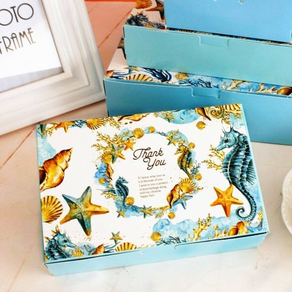 月餅包裝盒 藍色貝殼*5個 可放入50g6入月餅 想購了超級小物