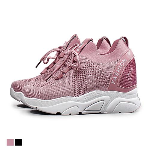 休閒鞋.飛織韓風厚底運動鞋