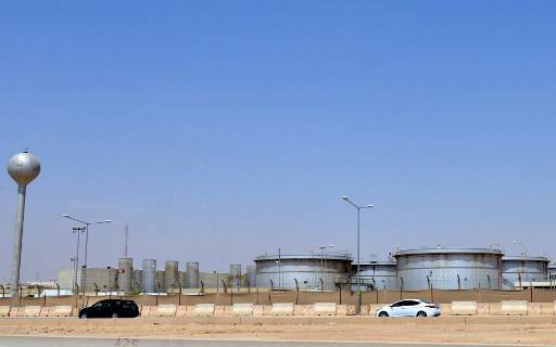 A picture taken on Sept. 15, 2019 shows an Aramco oil facility at the edge of the Saudi capital Riyadh. The company offered on Wednesday 18.8 million barrels of crude oils on a single day despite a global supply glut as a price war rages with Russia.