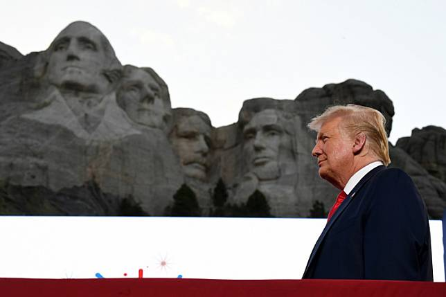 US President Donald Trump arrives for the Independence Day events at Mount Rushmore National Memorial in Keystone, South Dakota, July 3, 2020.