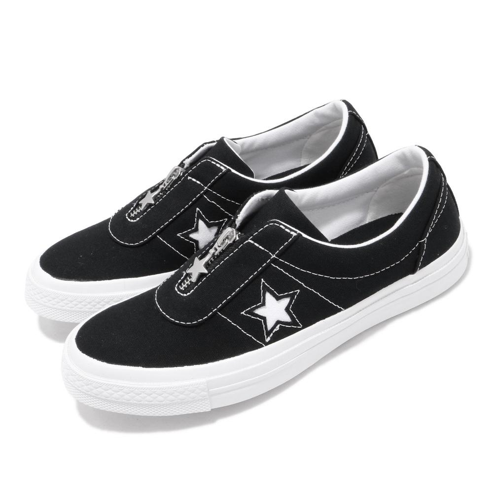 CONVERSE 休閒鞋 One Star Slip 穿搭 女鞋 基本款 一顆星 拉鍊 套腳 簡約 質感 黑 白 [564206C]