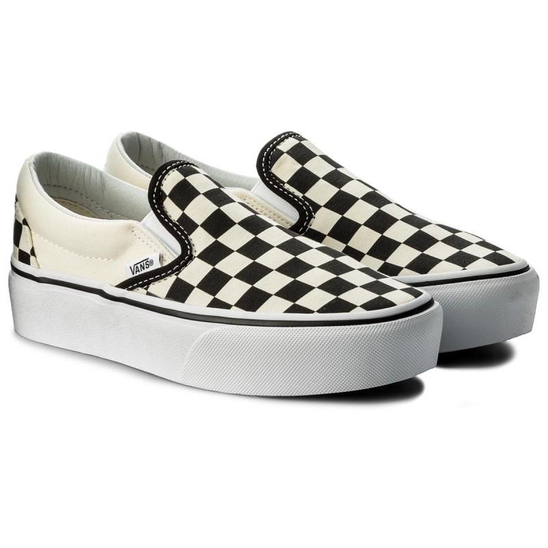 VANS VN00018EBWW Classic Slip-On 厚底 黑白棋盤格 懶人鞋 化學原宿
