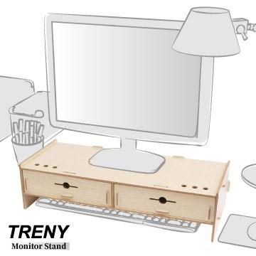 【TRENY直營】電腦螢幕增高架 (加厚雙抽-橡木白) 電腦螢幕收納架 螢幕架 鍵盤架 鍵盤收納 抽屜 D5088T-O