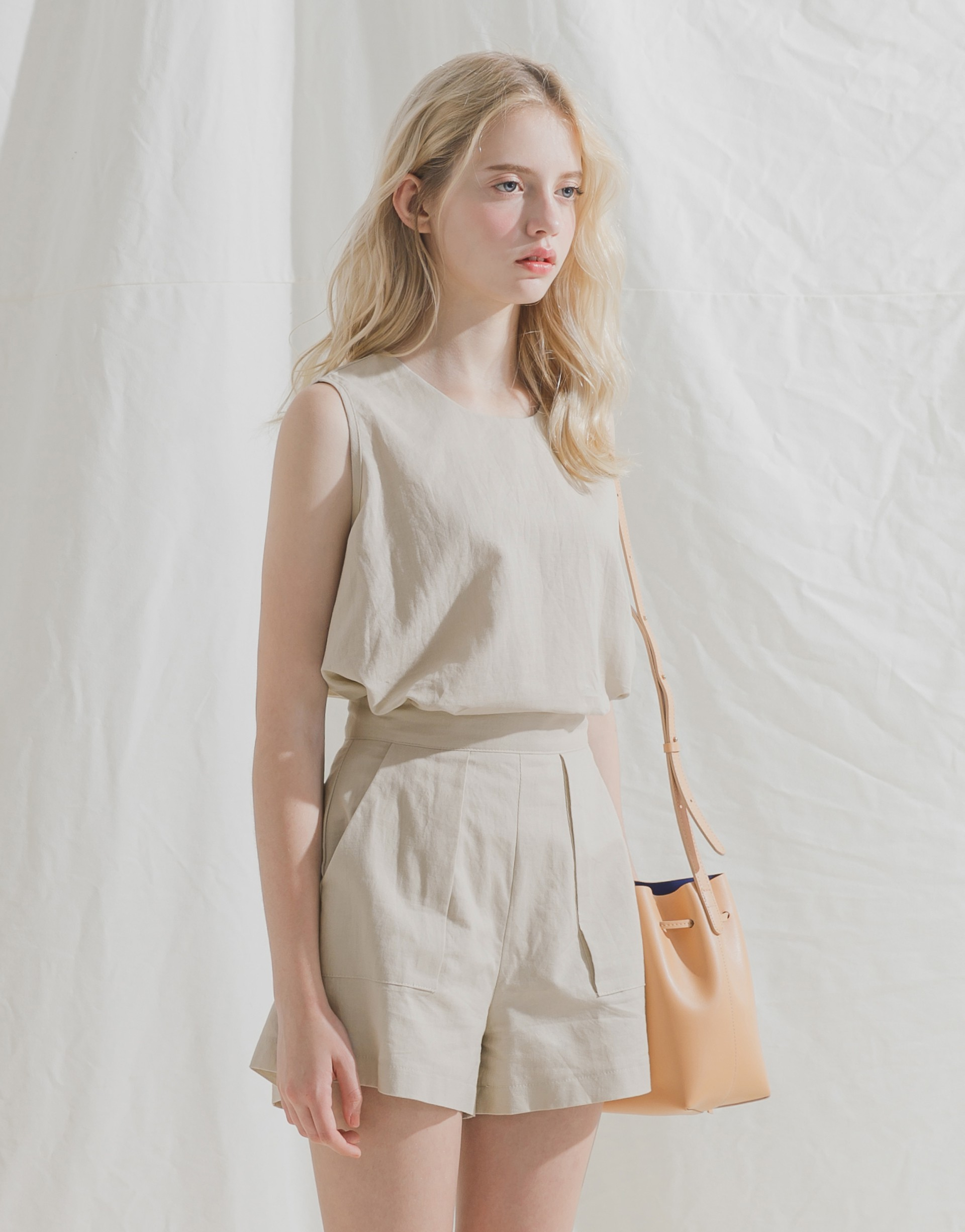 PAZZO+柔和色調棉麻套裝