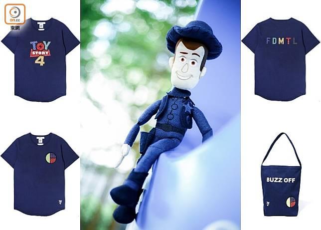 《Toy Story 4》x FDMTL將大家熟悉的電影標誌、字句與彩色拼接設計結合,推出多款採用白色及藍染色調的Print Tee及Tote Bag。(互聯網)
