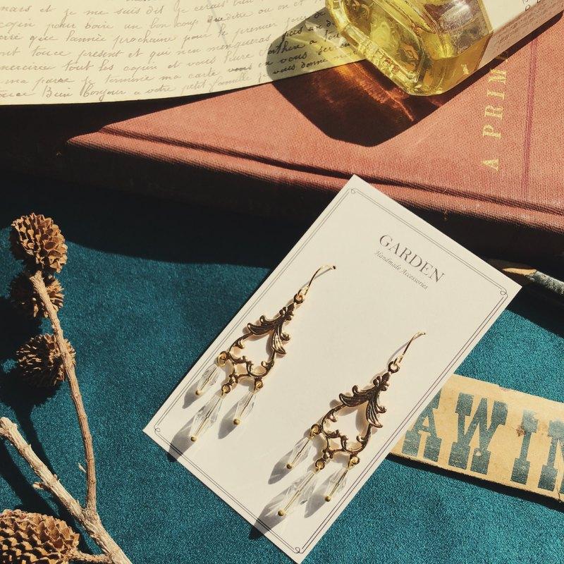 可改耳夾,玻璃管珠搭配鏤空吊片,復古華麗!