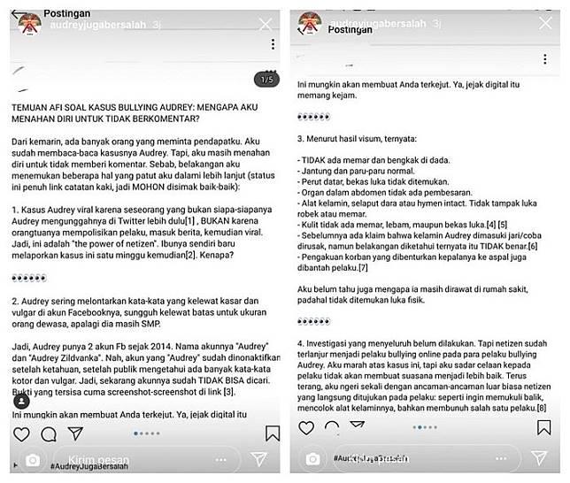 Temuan yang dianggap menjadi kejanggalan dalam kasus Audrey (Instagram/audreyjugabersalah)