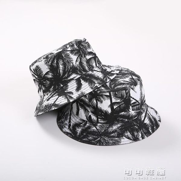 韓國潮盆帽遮陽帽盆帽夏天度假防曬漁夫帽女黑白戶外休閒情侶帽男 流行花園