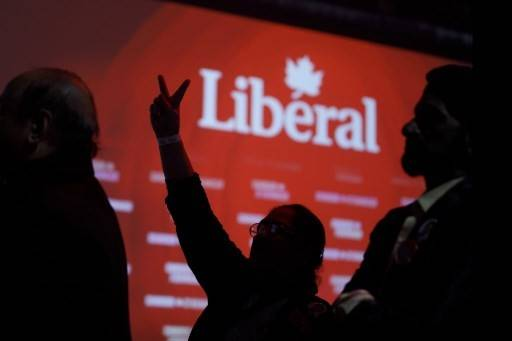 Liberal supporters react as they watch results roll in at Canadian Prime Minister Justin Trudeau's election night headquarters on October 21, 2019 in Montreal, Canada. Trudeau is predicted to remain in power with a Minority Government.