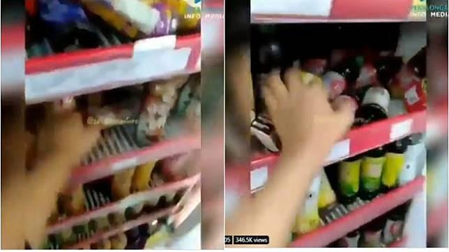 Viral remaja acak-acak kulkas minimarket (twitter.com/DiajengLrst)