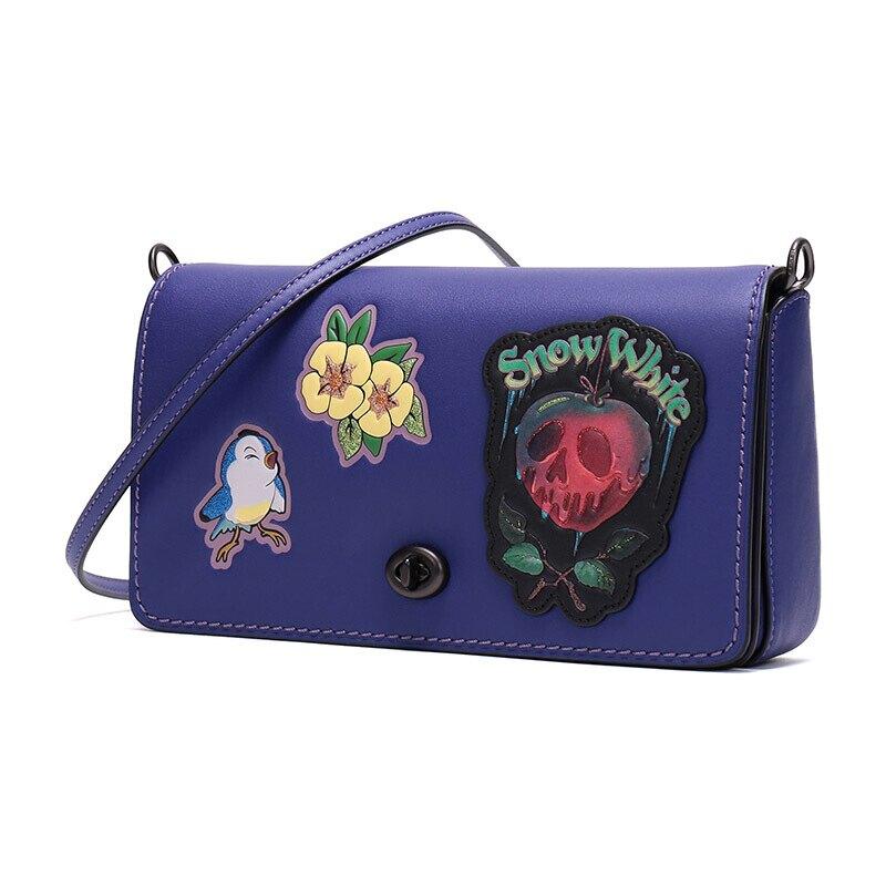 限時3折up| COACH 女士DISNEY 暗黑童話系列紫色鉻鞣皮革單肩斜挎包 F32759 |滿額最高折600↘情人節寵愛禮
