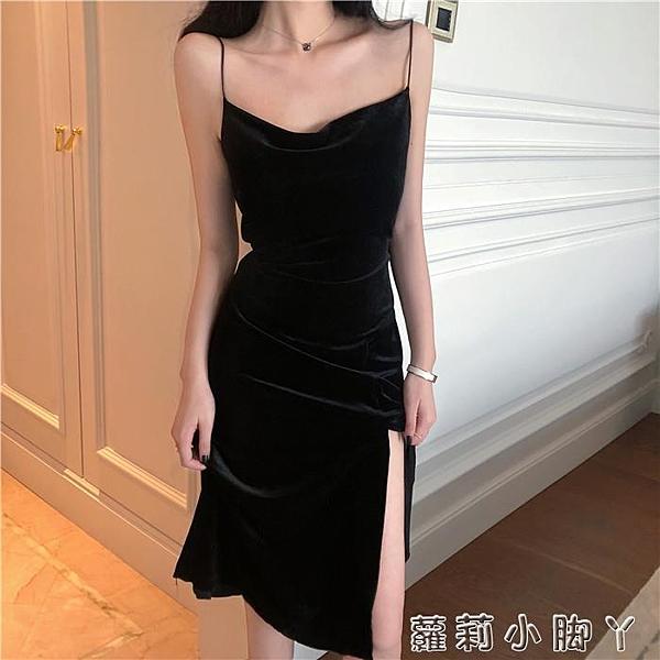秋裝2019新款女黑色吊帶裙復古打底連衣裙氣質收腰顯瘦中長款裙子