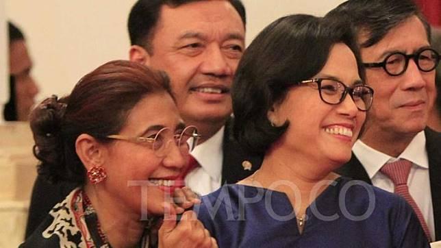 Menteri Keuangan Sri Mulyani Indrawati dan Menteri Kelautan dan Perikanan Susi Pudjiastuti. TEMPO/Subekti