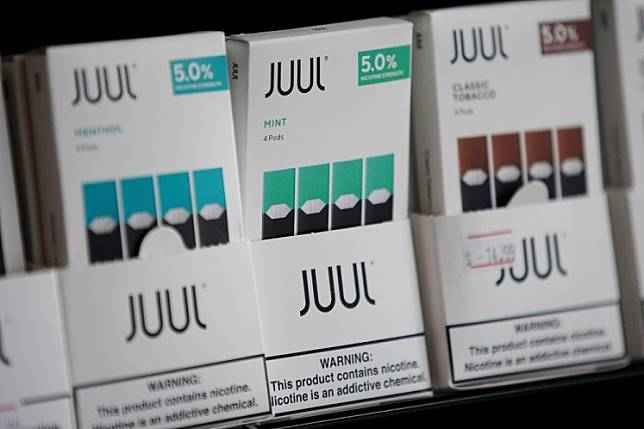 Juul brand vape cartridges are pictured for sale at a shop in Atlanta, Georgia, US, on Sept. 26, 2019.