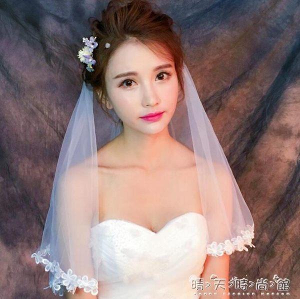 頭紗婚紗頭紗女新娘頭紗頭飾超仙簡約短款拍照森系復古新款韓式結婚禮