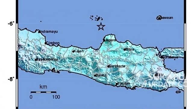 Titik gempa 7 Juli yang terjadi di Jepara, Jawa Tengah. Guncangan gempa terasa hingga Sukabumi. (Foto dok. BMKG)