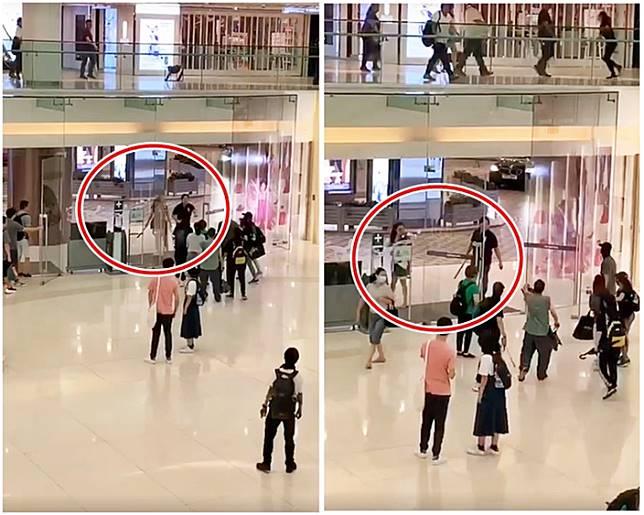 夫婦涉新城市廣場揮刀持鐵通威嚇人群 。網上圖片