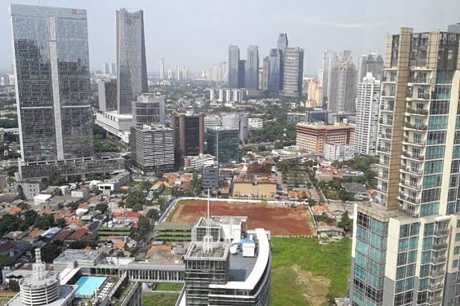An aerial view of the Mega Kuningan business district in South Jakarta.