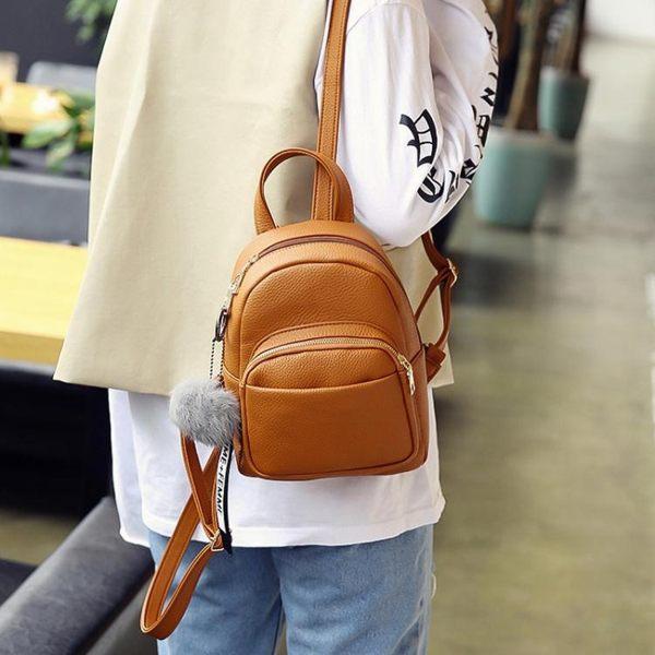 新款韓版迷你荔枝紋雙肩包百搭純色軟皮女生背包小包包潮 韓小姐的衣櫥