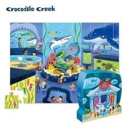 【美國Crocodile Creek】博物館造型盒學習拼圖48片-海生館