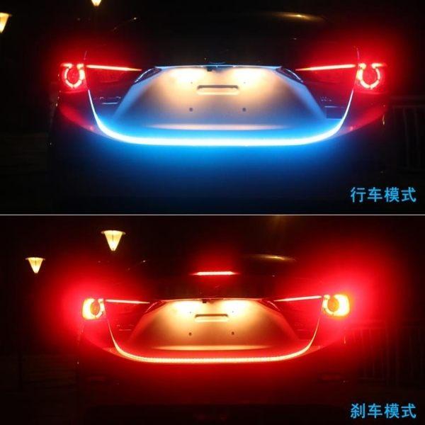汽車尾箱流水轉向剎車氛圍燈改裝七彩跑馬流光燈冰藍後備箱裝飾燈 美芭