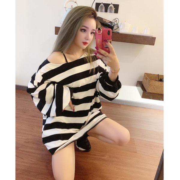 上衣女秋季時尚韓版燈籠袖寬松條紋長款氣質衛衣