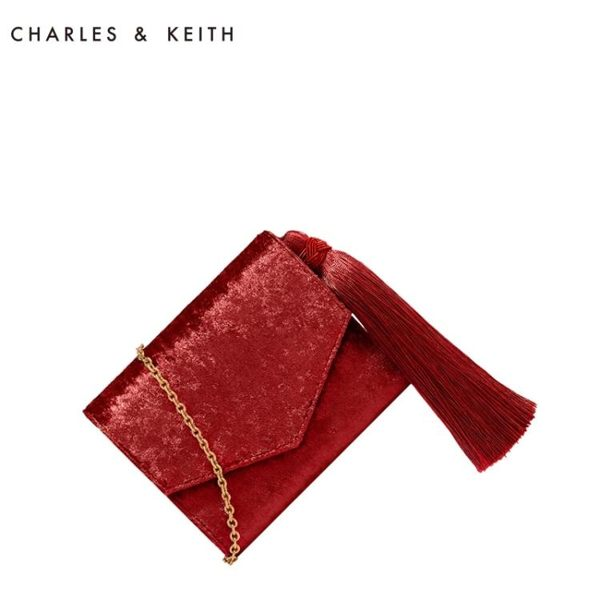 錢包 CHARLES&KEITH 短款錢包 CK6-10840110 復古流蘇裝飾信封款錢包-凡屋FC