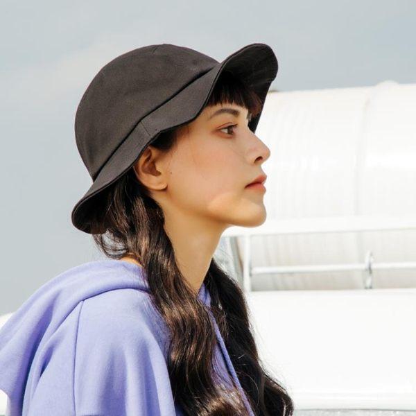 特殊古著版型日本五片漁夫帽子女夏天百搭純色小檐帽條紋遮陽帽潮