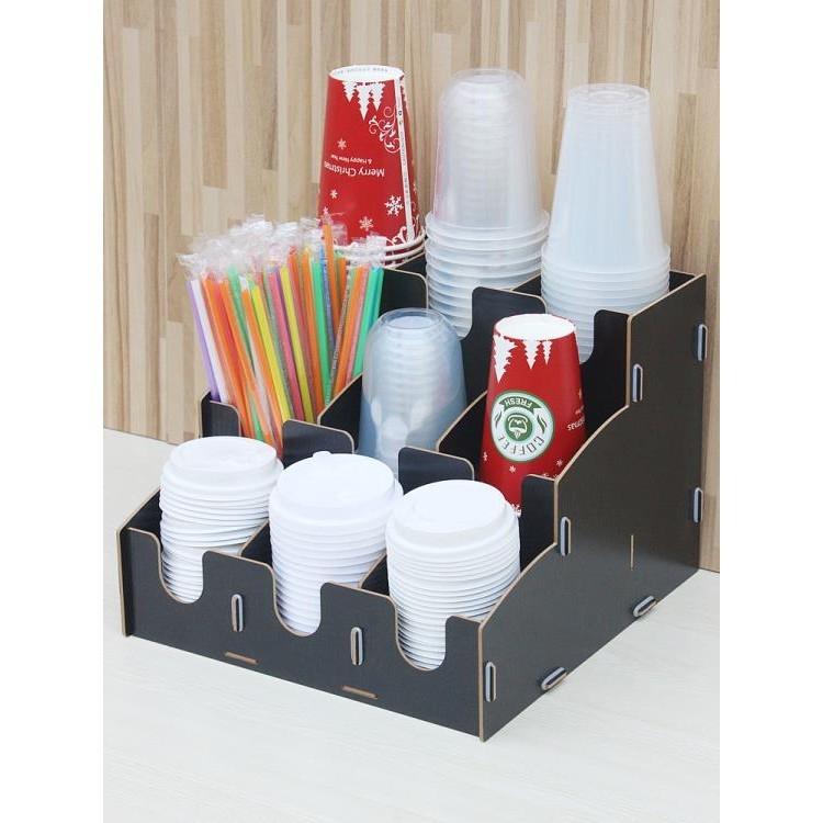 吧台桌面一次性紙杯收納架咖啡廳奶茶店取杯架拖分杯器吸管盒商用