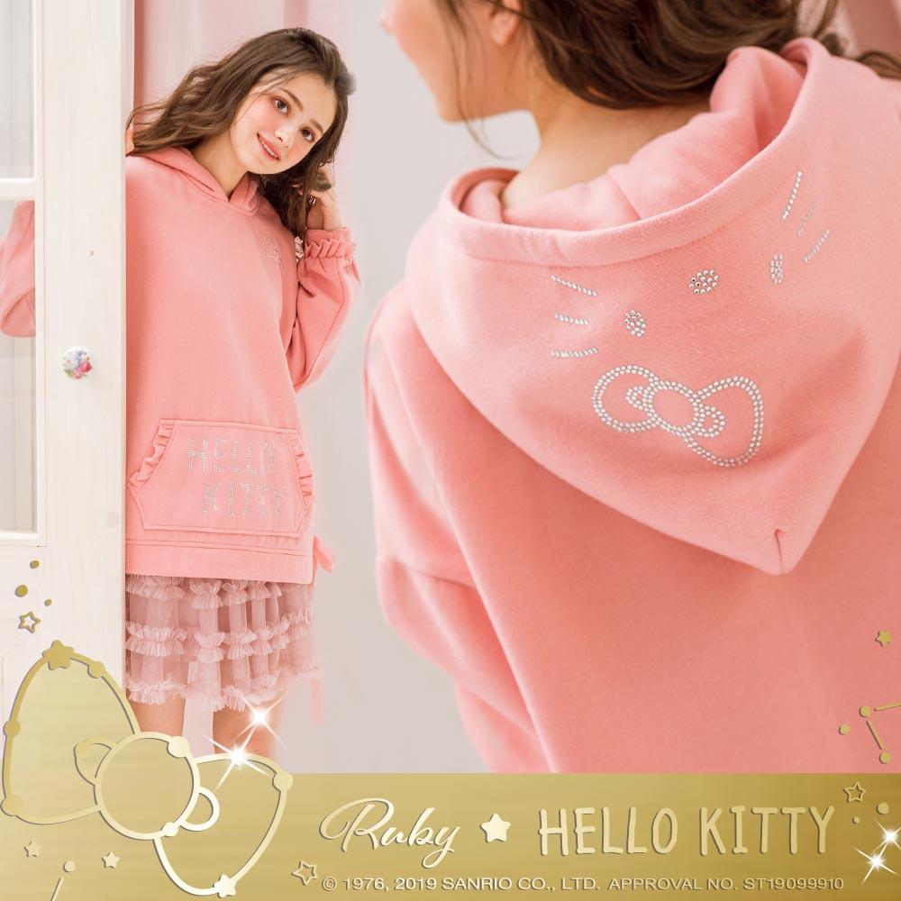 露比午茶-Hello Kitty x Ruby 聯名款.水鑽綁帶連帽鋪棉長袖上衣