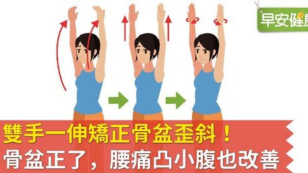 雙手一伸矯正骨盆歪斜!骨盆正了,腰痛凸小腹也改善