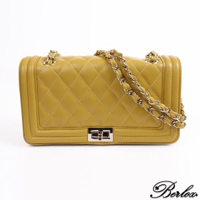 BERLOX寶黎思 熱銷 真皮 菱格包 小香包 側 斜背包 女包 時尚黃 BLX021-A093-YE