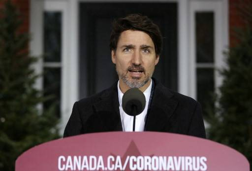 Canadian Prime Minister Justin Trudeau speaks during a news conference on COVID-19 situation in Canada from his residence on Sunday in Ottawa, Canada.