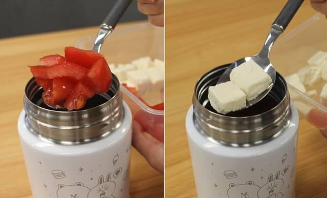 預熱後將材料放進罐中。